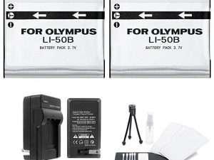 Kit De Baterias,cargador,limpieza Para Camara Olympus Tg-870