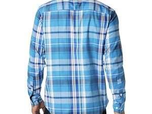 Camisa Columbia Hombre Azul Clara Rayas Manga Larga Talla S