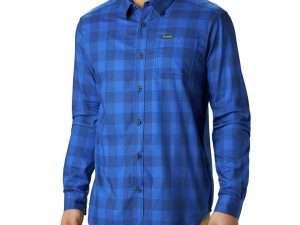 Camisa Columbia Hombre Manga Larga Azul Talla S
