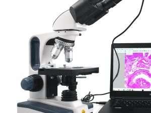 Microscopio de laboratorio Binocular compuesto 40x-2500x + camara 1.3 MP USB digital