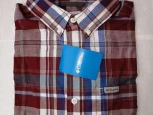 Camisa Columbia Cuadros Rojos Y Azules Manga Larga Talla M